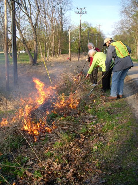 """The """"path squad"""" of the Westmorland burn crew tending flames at the top of the prairie ravine.  Photo by Sandy Stark."""