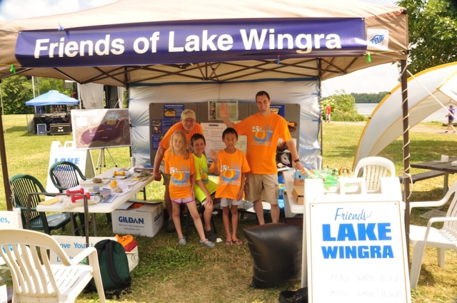 Friends of Lake Wingra information tent at the Lake Wingra Clean Up on Saturday June 16, 2012. Photo by Stephen B. Glass