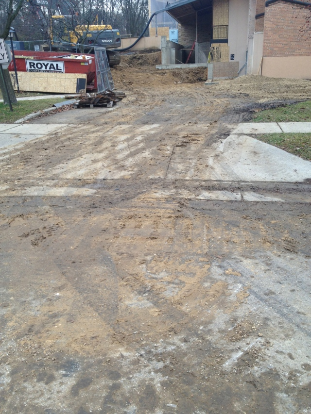This is what soil destruction looks like. Soil tracked into Yuma Drive from church construction project.