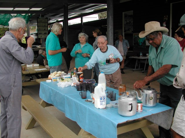 Volunteers taking morning break at TREAT's Lake Eacham headquartrers.