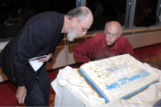 SER Founders John Stanley (left) and William R. Jordan, III blow out the candles on SER's 25 Birthday Cake.