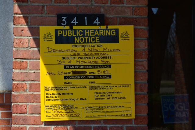 Public hearing notice for proposed demolition at 3414 Monroe Streeet.